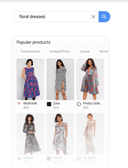 Example of a floral dress search on mobile