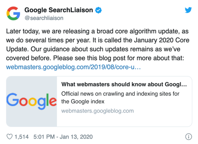 Tweet from Google Liasion announcing the newest core update