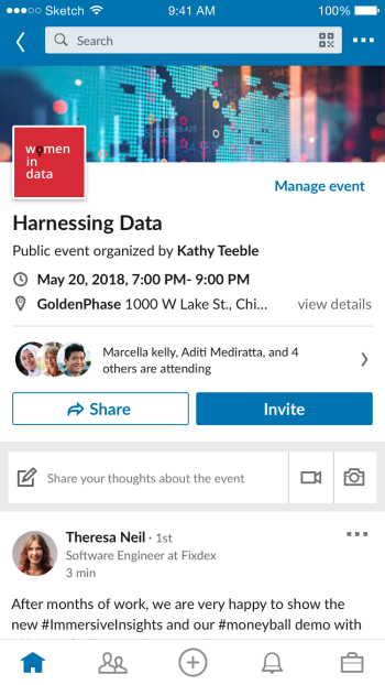Harnessing Data mobile screen grab of there Linkedin event