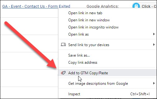 Example of where to click the Add to GTM copy paste tool