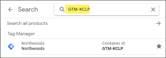 How to search for your GTM container ID example