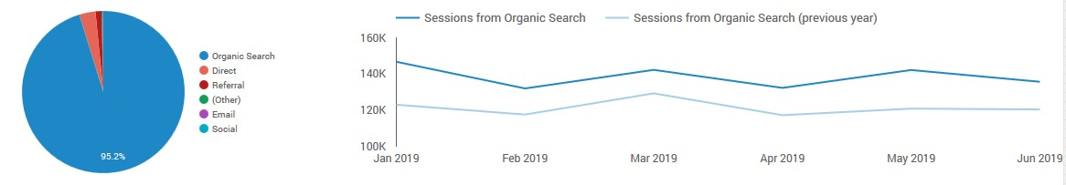 This distilled data visualization shows a 29% increase in sales from organic search over six months