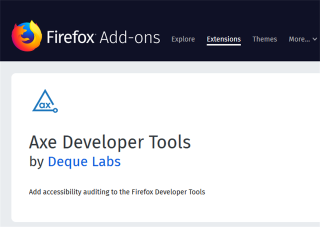 Axe Developer Tools Extension example
